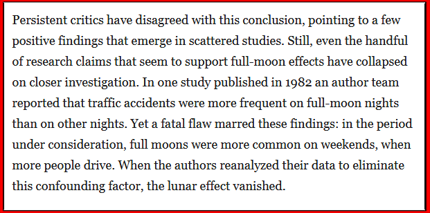 When the authors reanalyzed their data to eliminate this confounding factor, the lunar effect vanished.